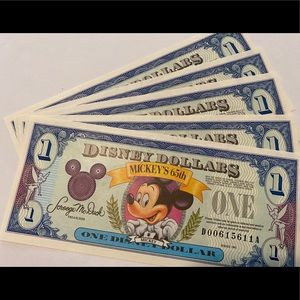 5 Disney Dollars Mickey Mouse 65th Birthday